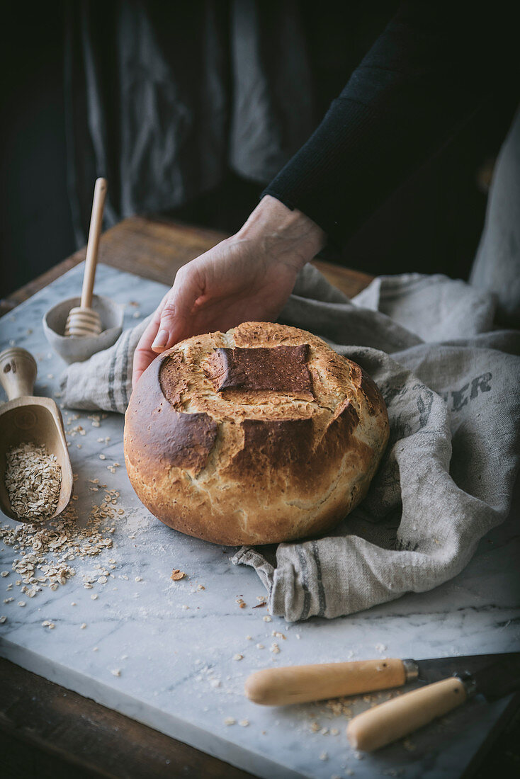 Preparing a loaf of bread at home