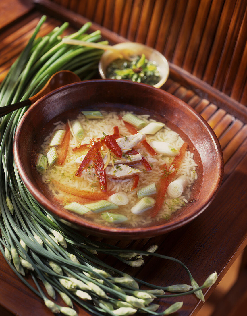 Noodle soup from Bali with garlic