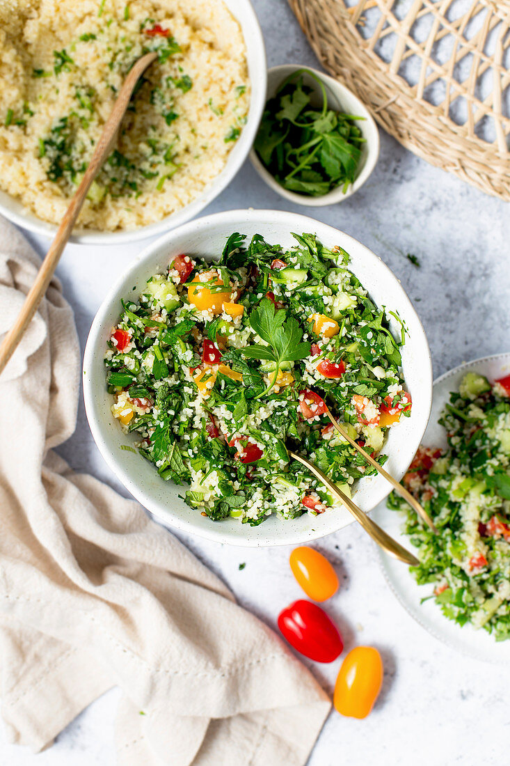 Tabbouleh with bulgur, herbs, tomatoes and cucumber