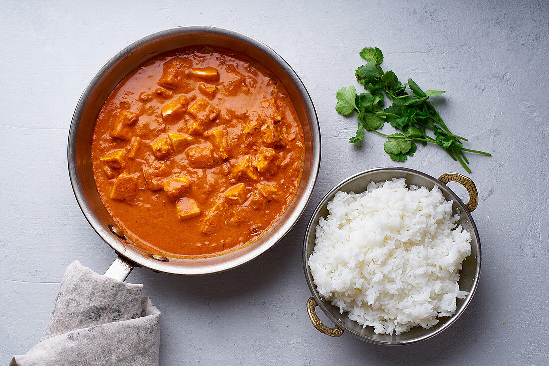 Paneer tikka masala with rice