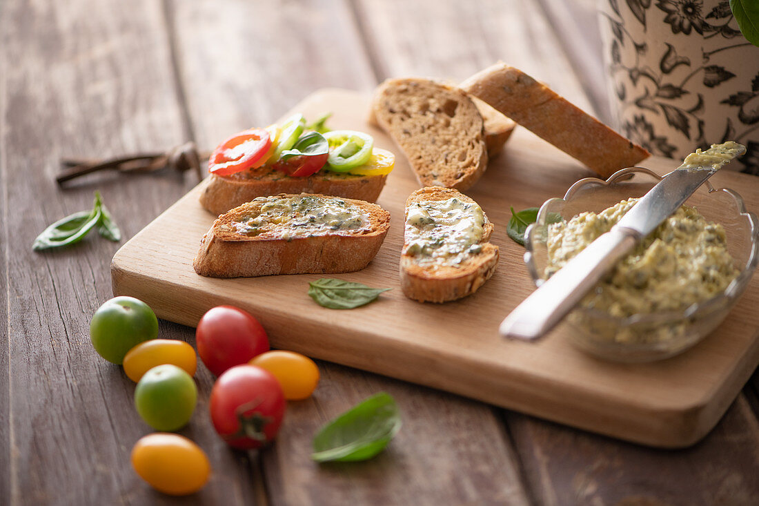 Bread with basil butter