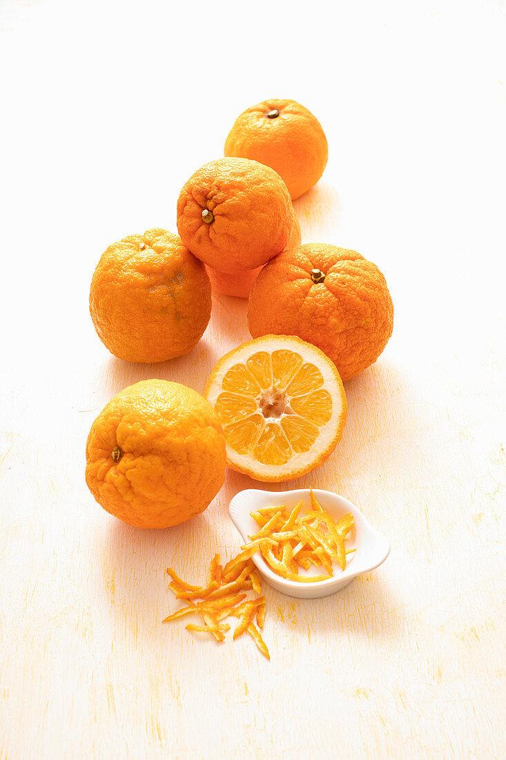 Bitter oranges with zests