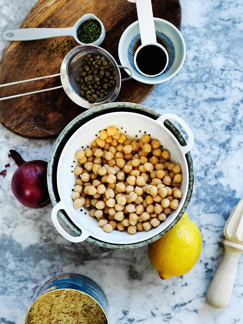 Chuna - Ingredients for Vegan 'tuna' mayo (chickpea mayo sandwich filler)