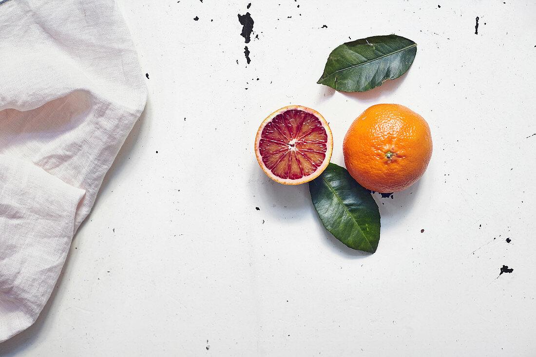 Blood orange still life with a linen cloth