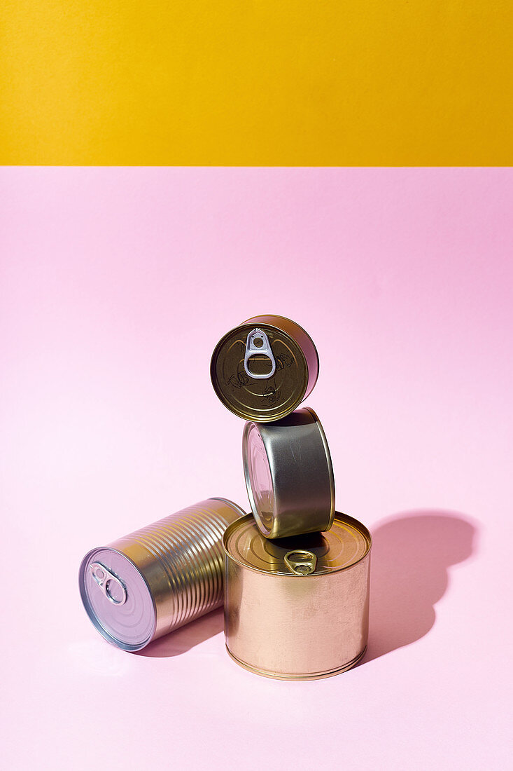 Verschiedene Konservendosen vor pinkfarbenem Hintergrund