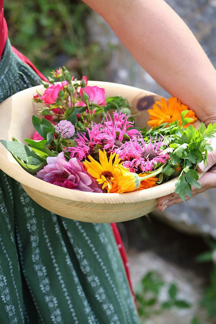 Frau im Dirndl hält Holzschale mit frisch gepflückten Blüten und Kräutern