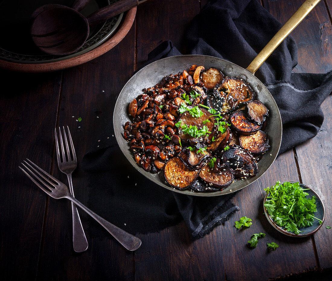 Vegan Soy Miso chestnut mushrooms and Aubergine