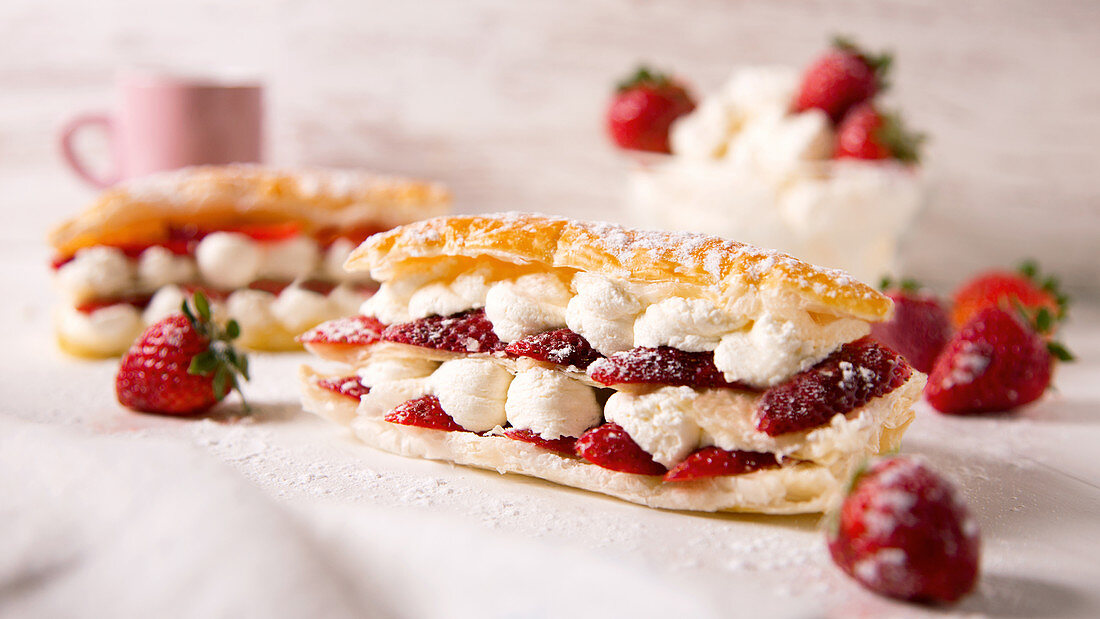 French pastry dessert with cream and strawberrys