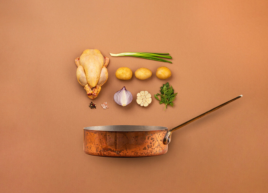 Set of raw ingredients arranged for cooking chicken soup or stew in copper pot