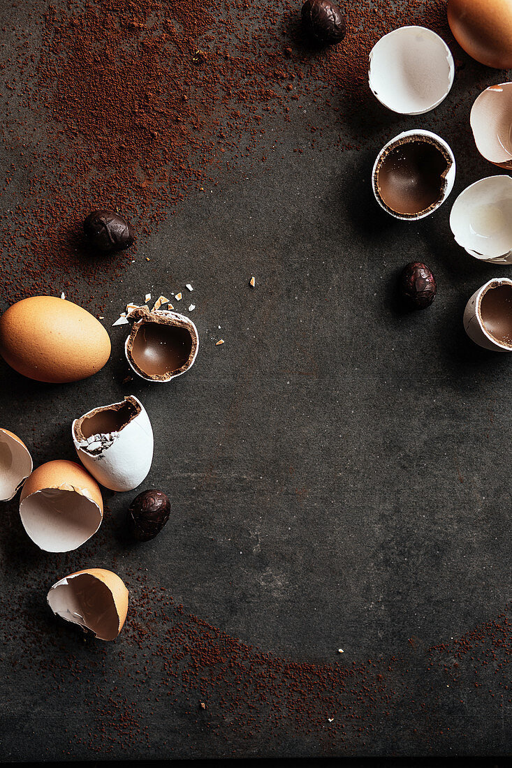 Preparing chocolate easter eggs