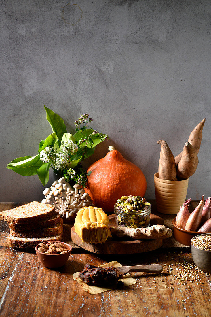 Ingredients for roasted root vegetable laksa with buckwheat and toast