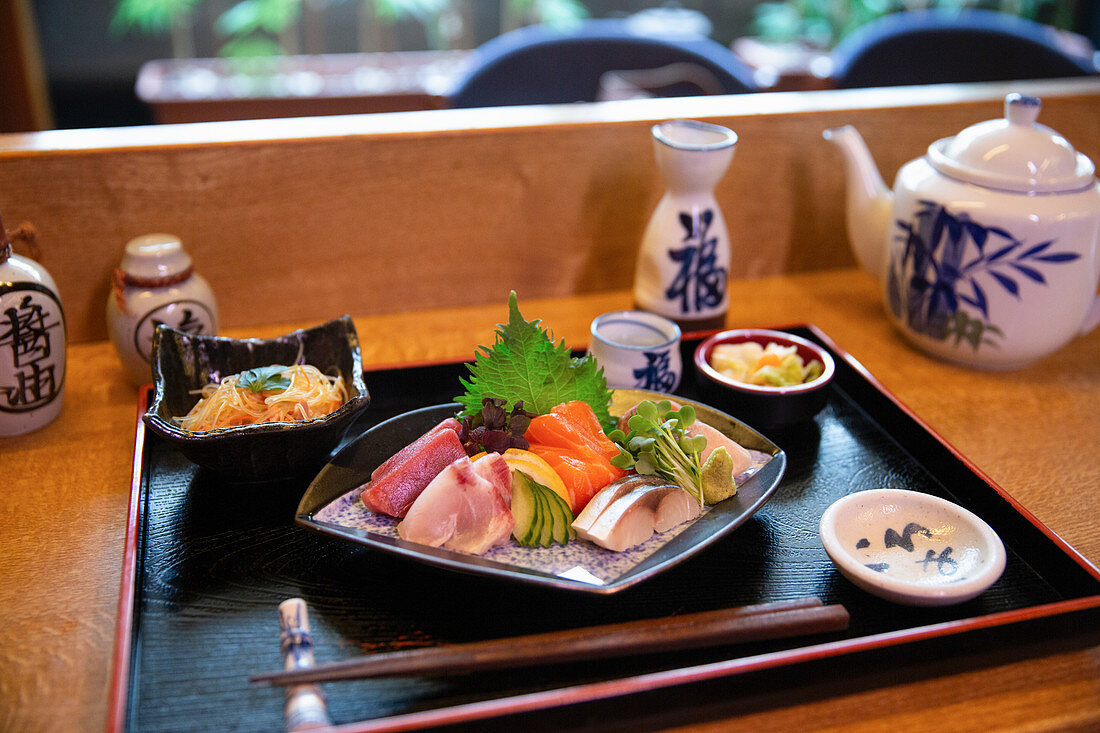 A sashimi platter in a restaurant