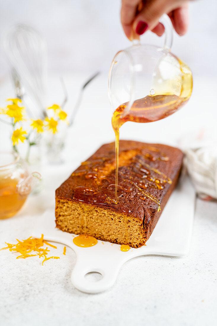 Syrup loaf cake with orange zest