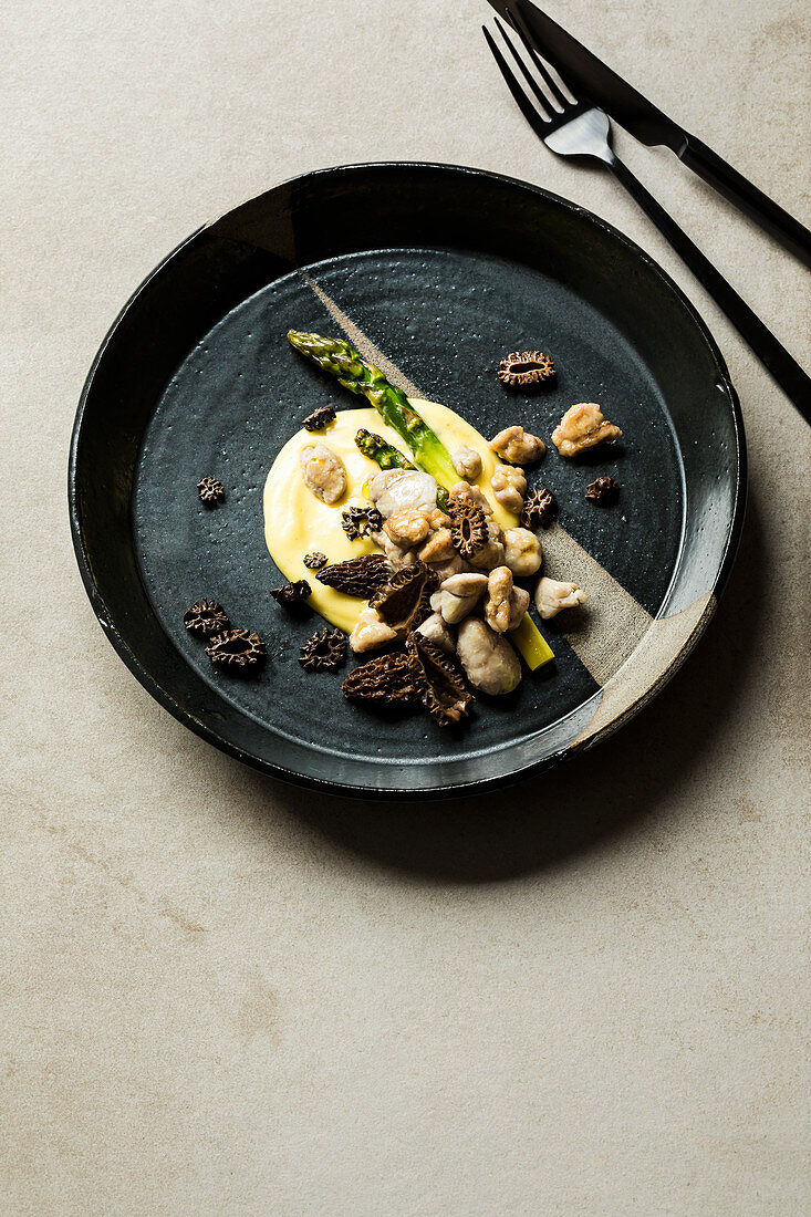Veal sweetbread with green asparagus and a morel mushrooms Hollandaise