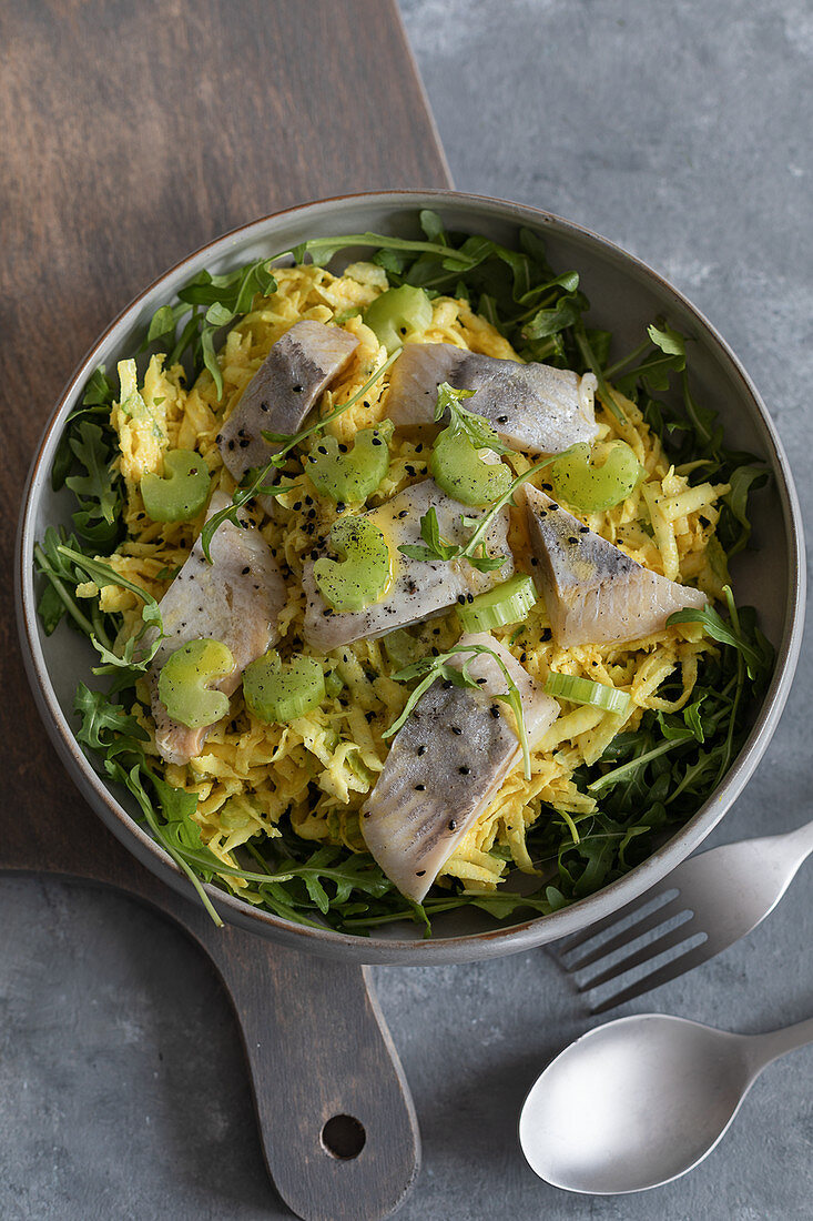 Herring on celeriac turmeric remoulade