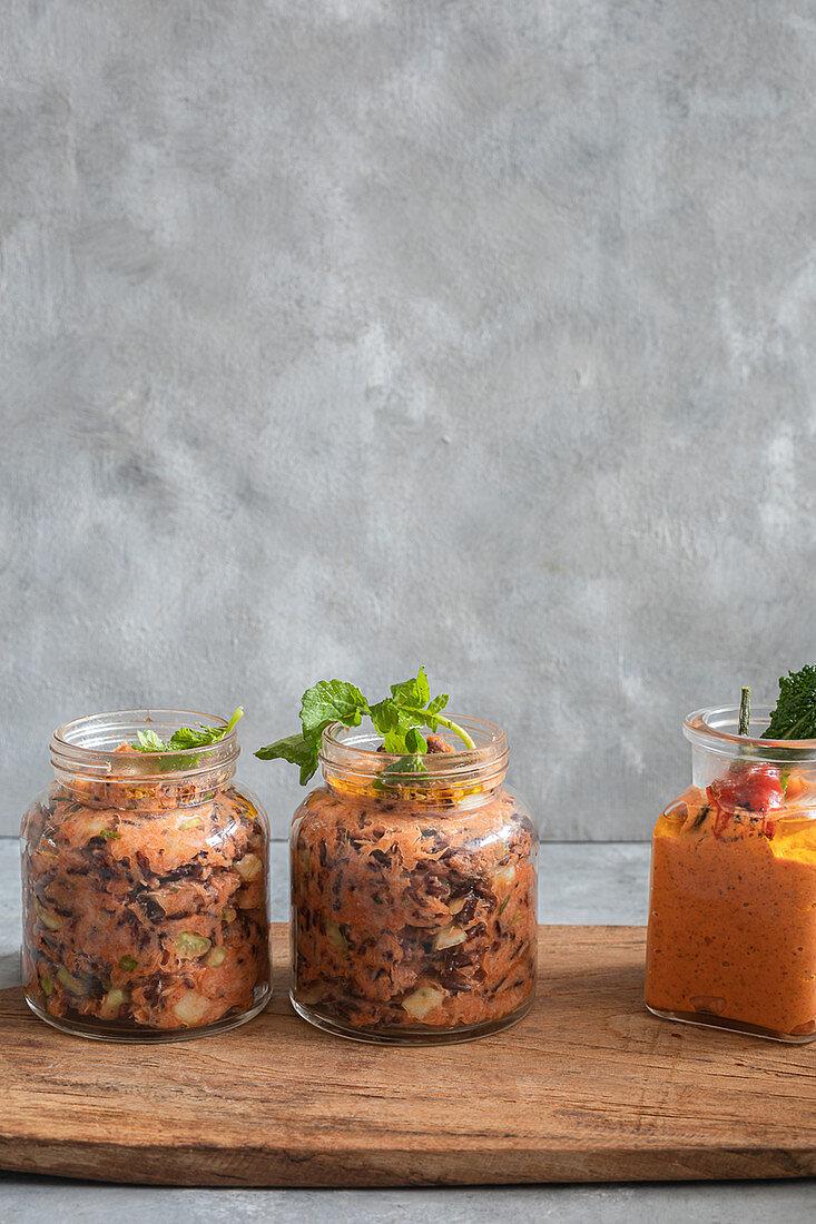 Mackerel pate in jars