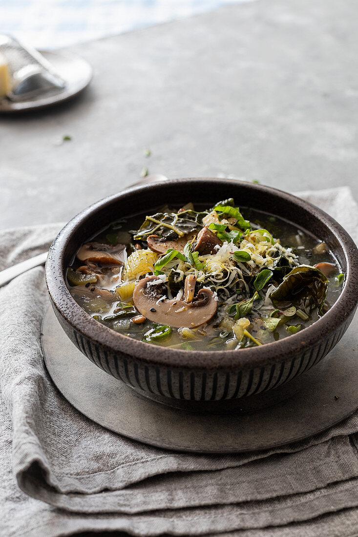 Minestrone with mushrooms and cavolo nero