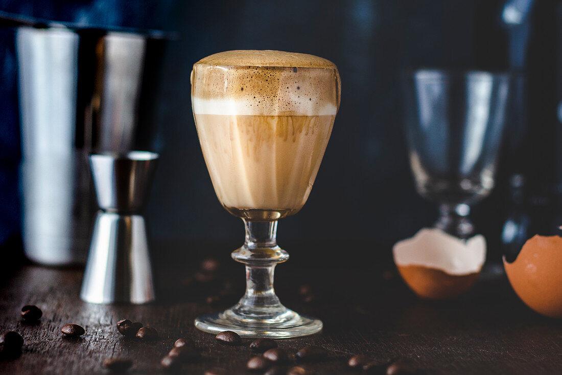 Dalgona eggnog with espresso foam