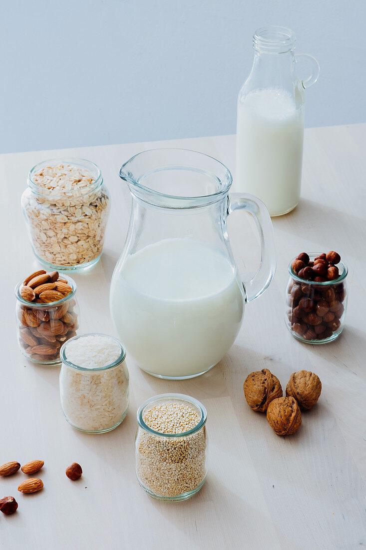Ingredients for preparing vegan milk on table