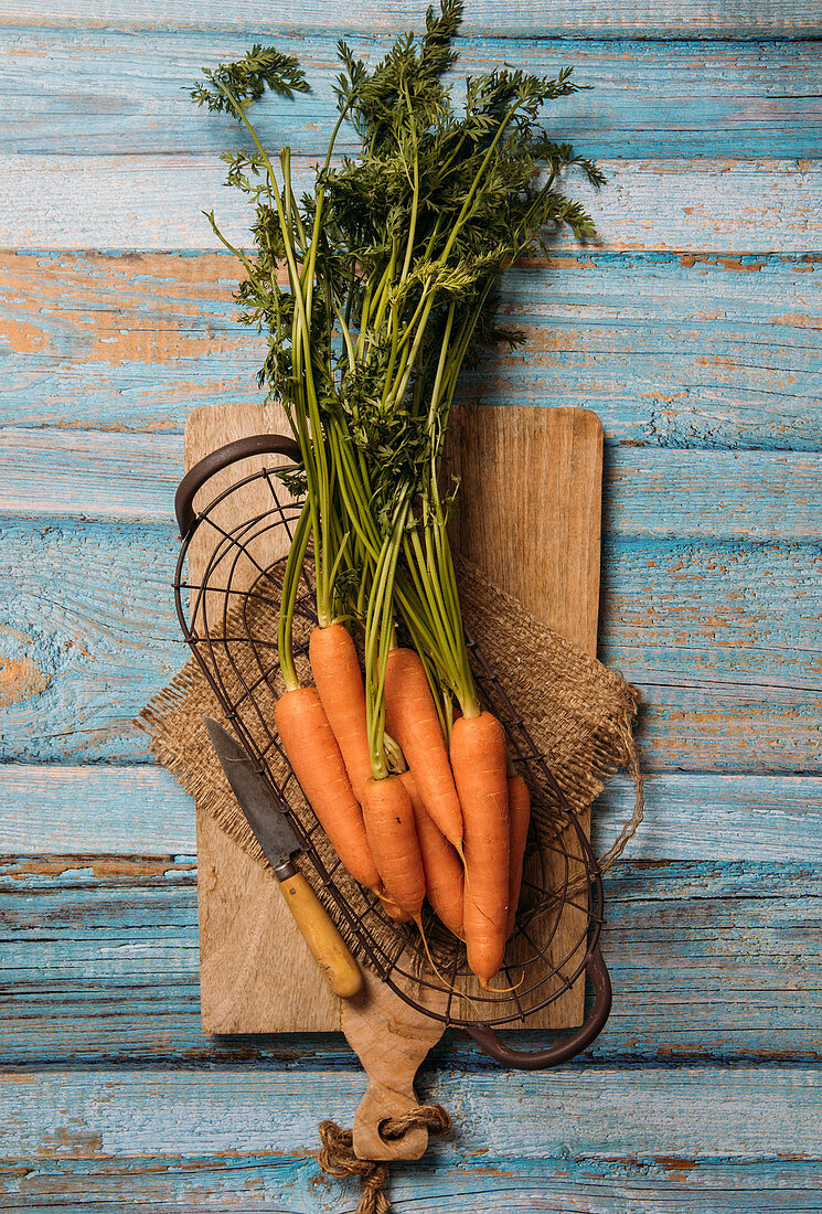Harvested ripe carrots with green foliage placed on cutting board on wooden table