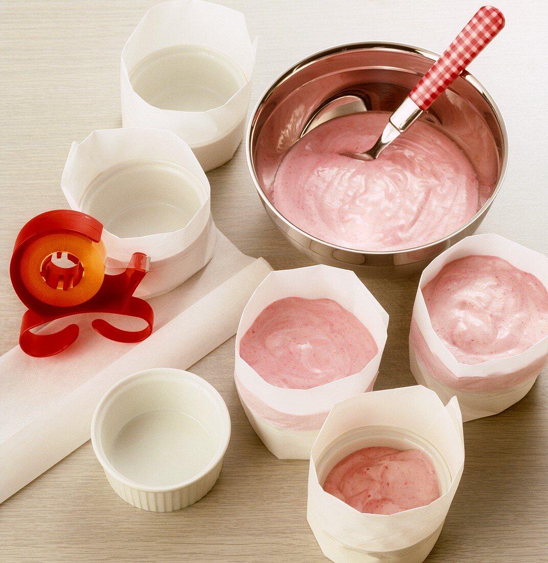 Making raspberry ice cream soufflé