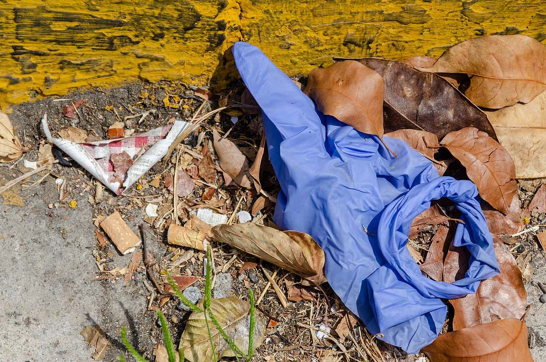 Discarded gloves during Covid-19 outbreak