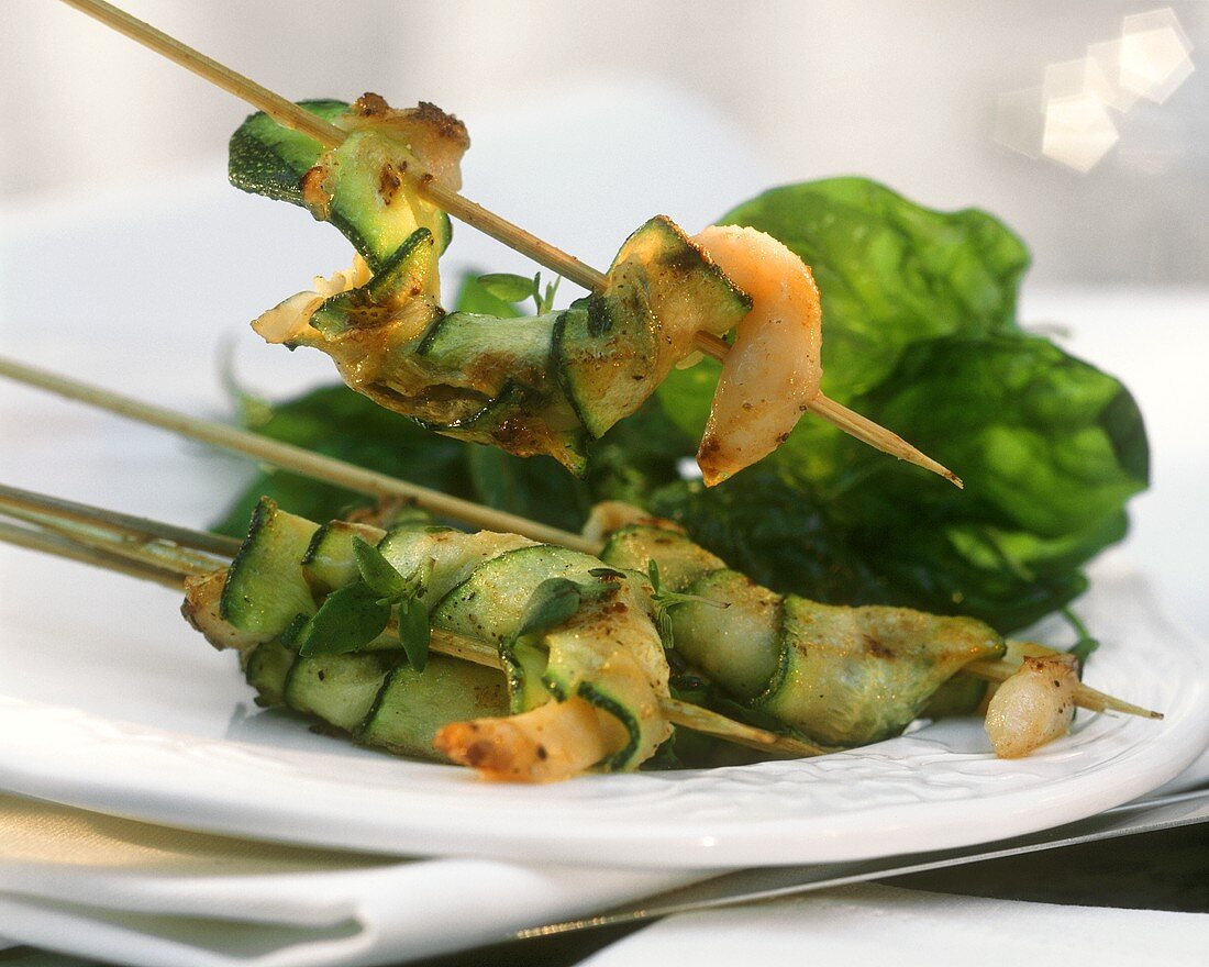 Skewer with Deep-fried Mussels and Zucchini