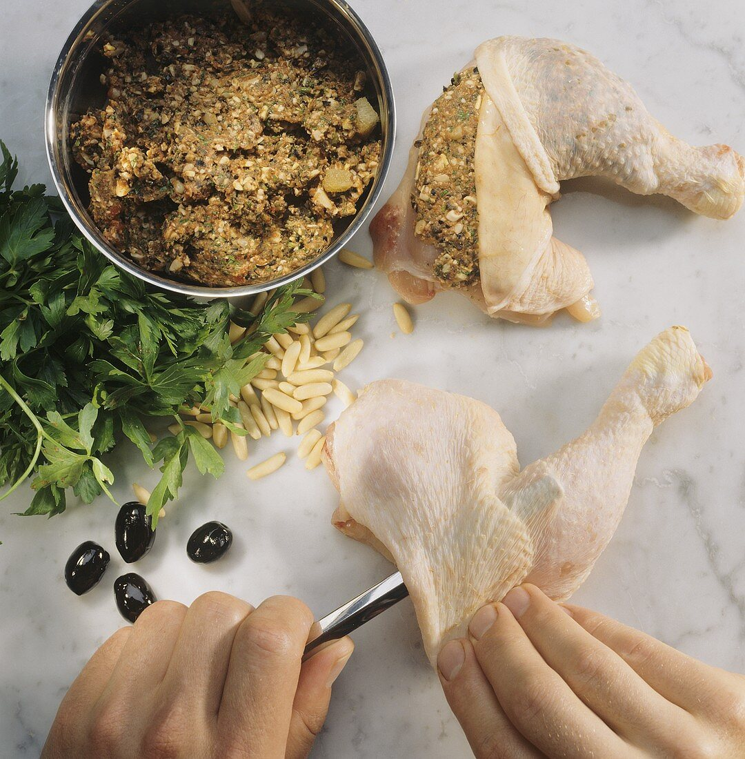 Stuffing poultry under the skin