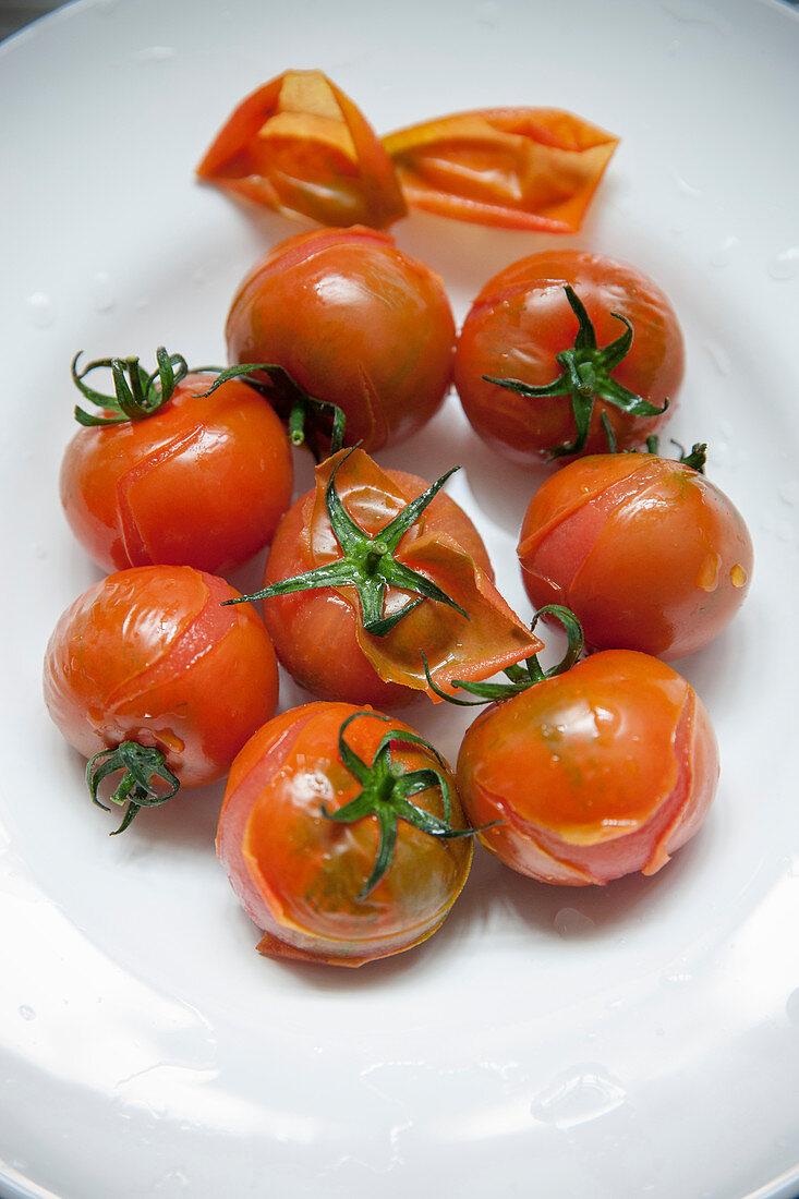 Tomatoes with peeling skin
