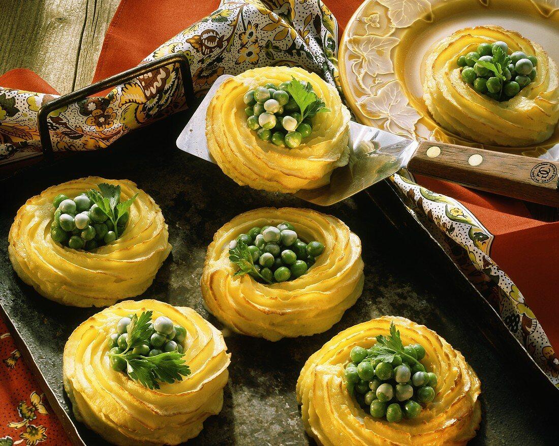 Peas in a Potato Nest; Spatula