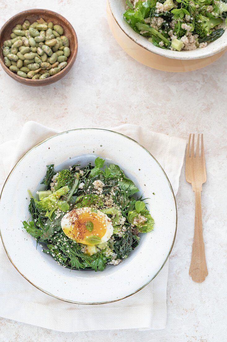 Pearl barley and broccoli tabbouleh with soft boiled egg