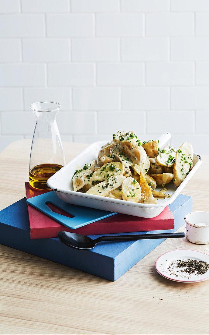Potato salad with creme fraiche dressing