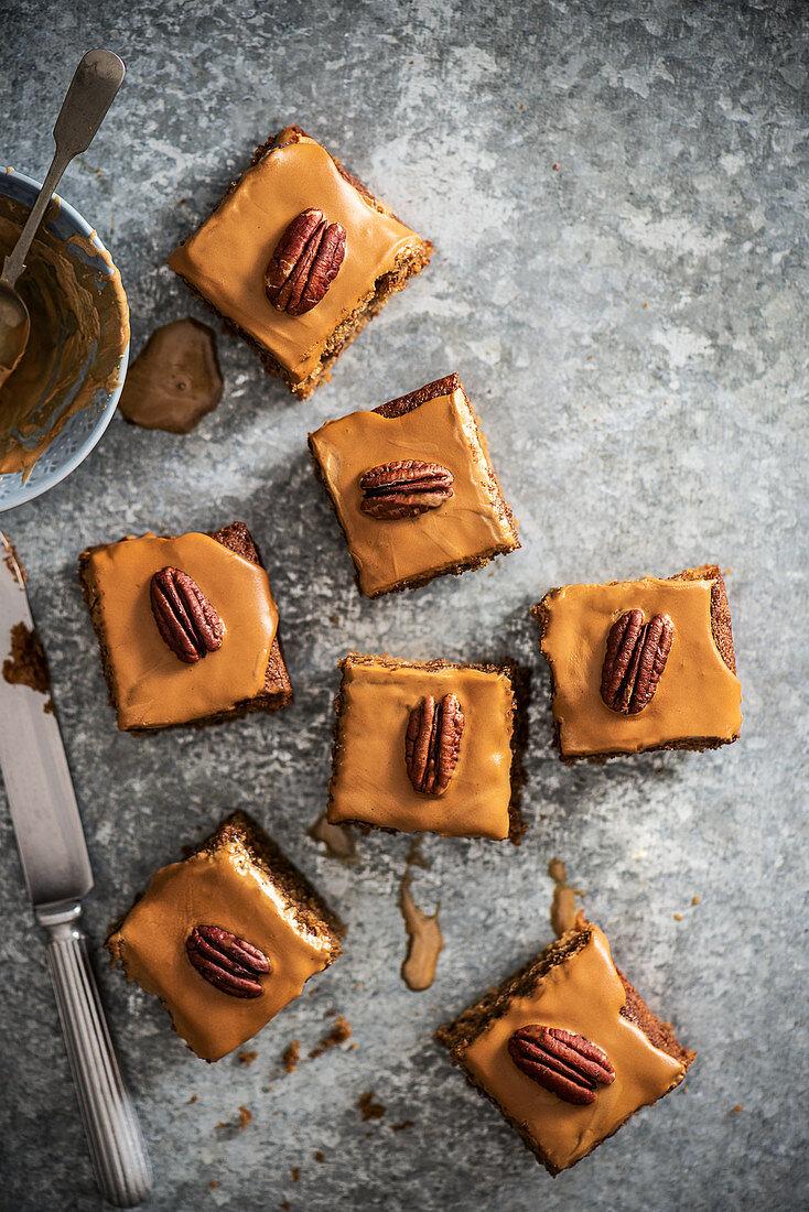 Coffee and pecannut traybake with coffee icing