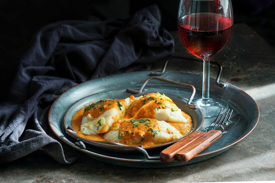 Spanish bacalao a la vizcaína (Basque style cod)