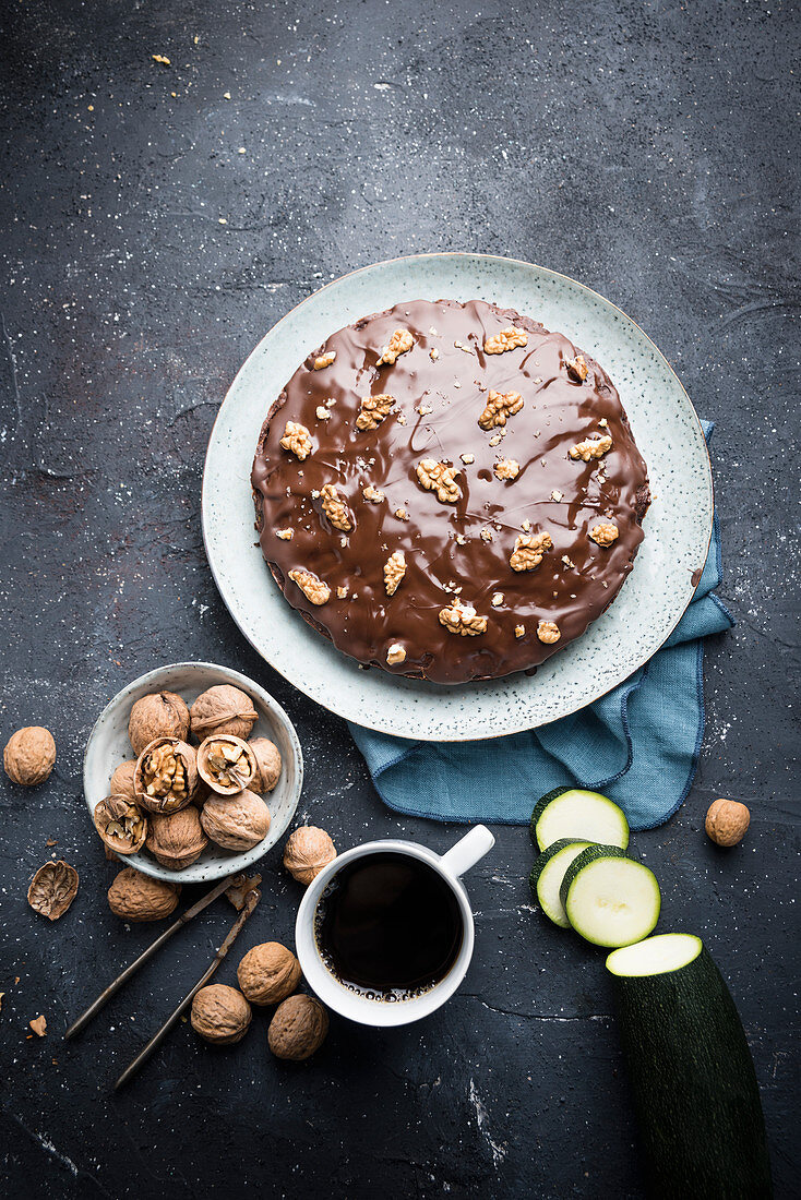 Vegan courgette and walnut cake