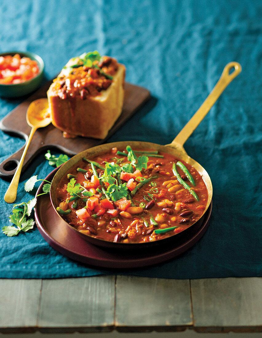 Bean curry bunny chow