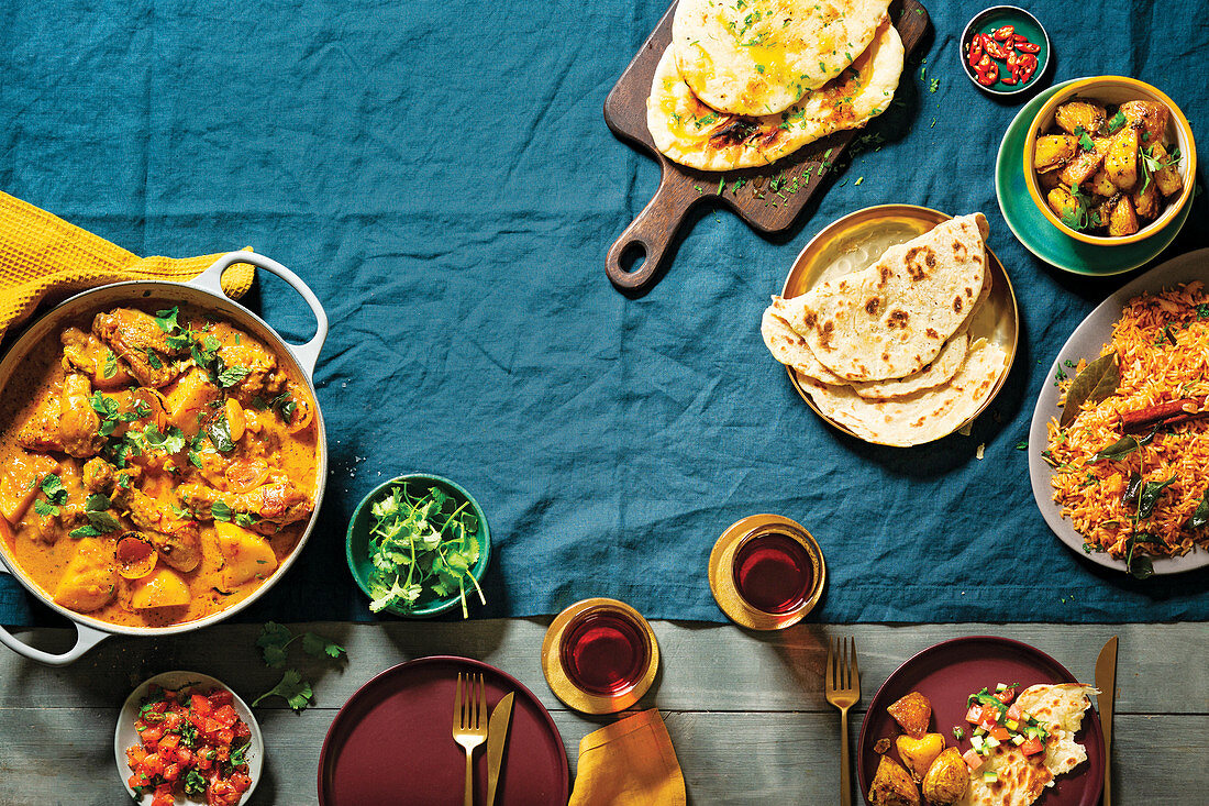 Cape Malay chicken curry, Bombay potatoes, Rotis and Saffron spiced rice