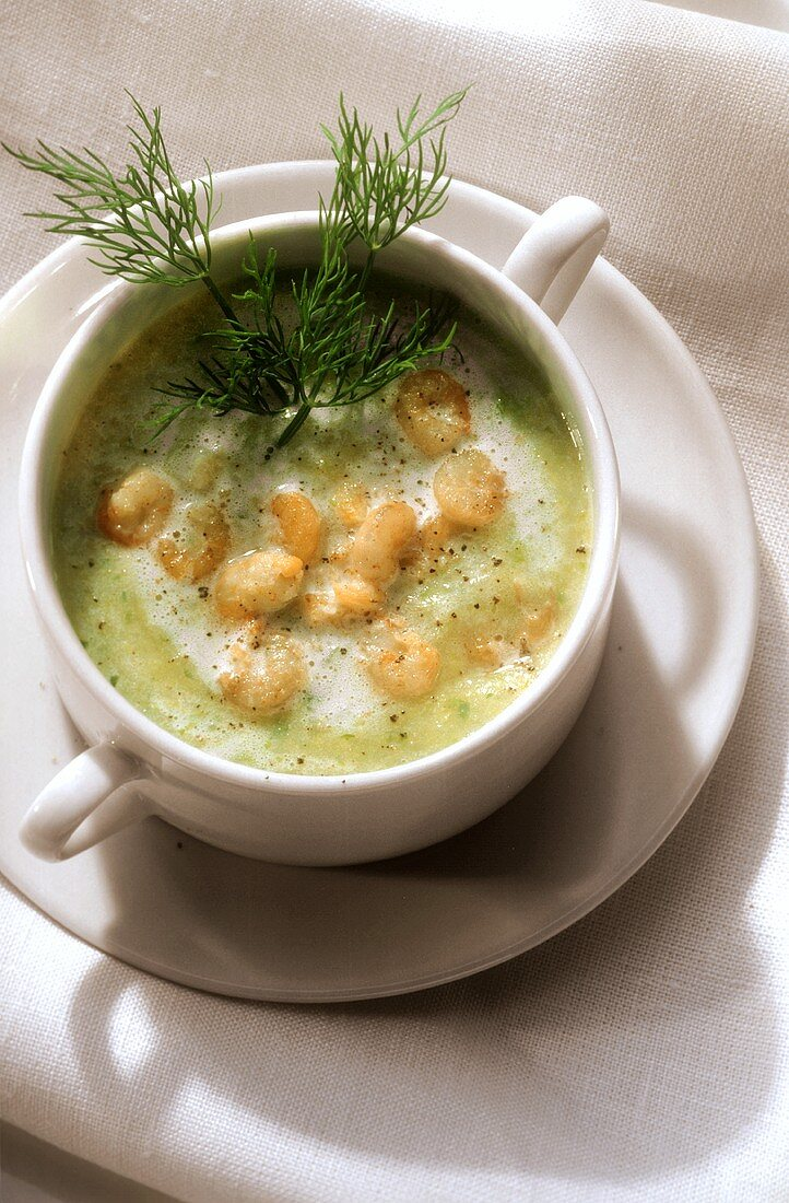 Holstein potato soup with shrimps and dill