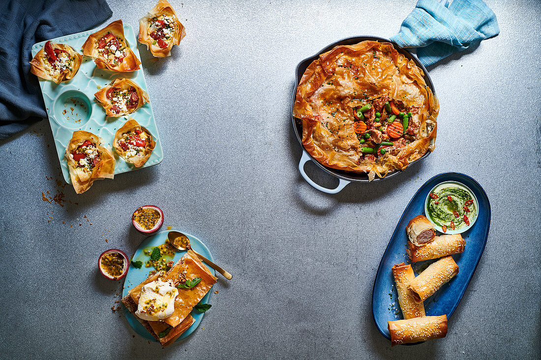Phyllo sausage rolls, Leftover roast pie, Nutty phyllo slices and chorizo cups