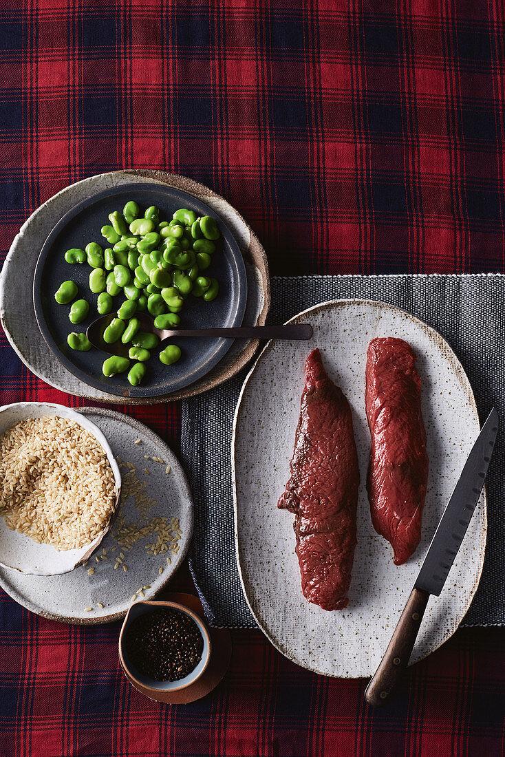 Kangaroo loin, broad beans and quinoa