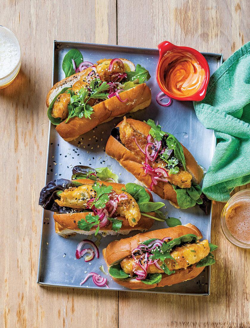 Battered fish hotdogs with sriracha mayo