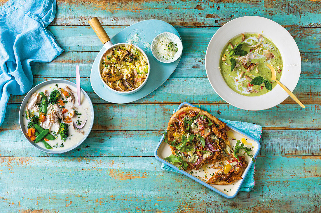 Four chicken ideas - risotto, soup, green curry and BBQ
