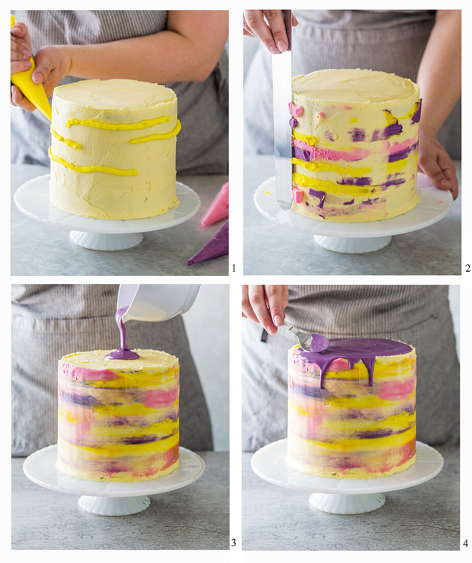 A candyland dripping cake being made in rainbow colours