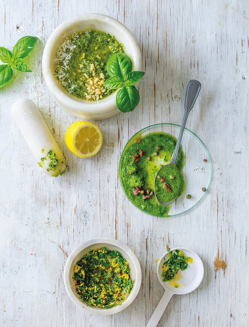 Basil pesti, salsa verde and gremolata