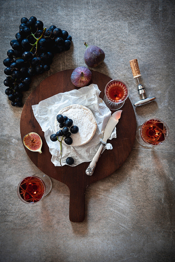 Still Life with Cheese, Wine, and Fruits