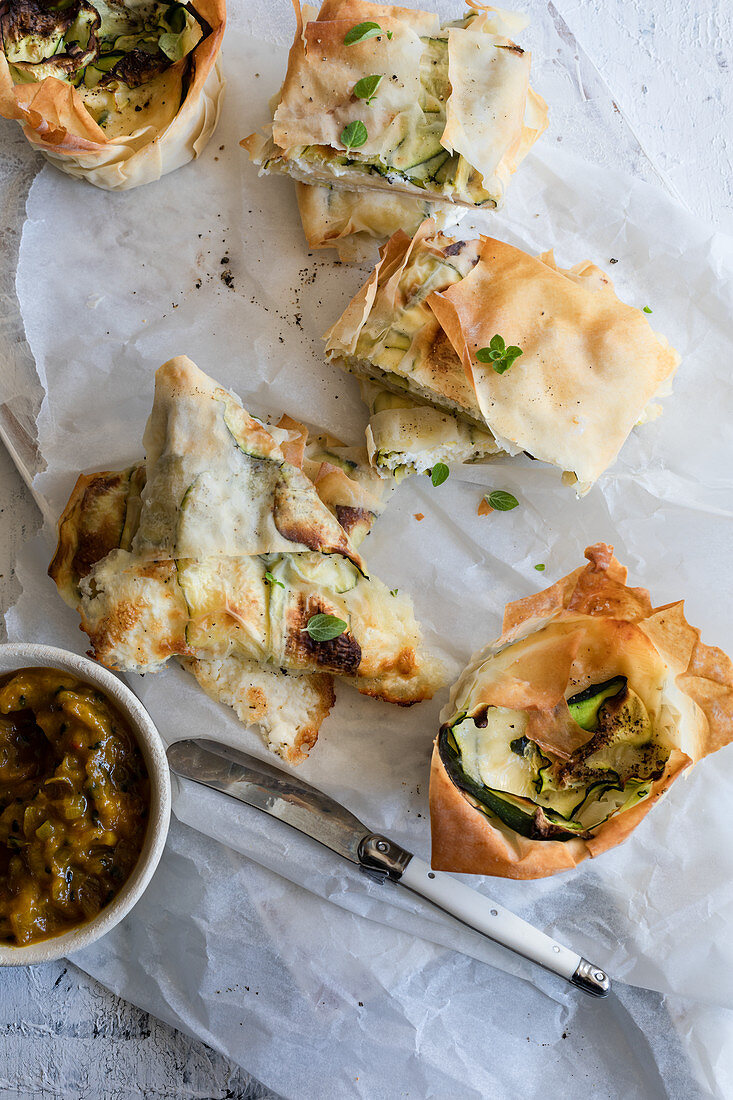 Filo pastry zucchini and cheese tartelettes