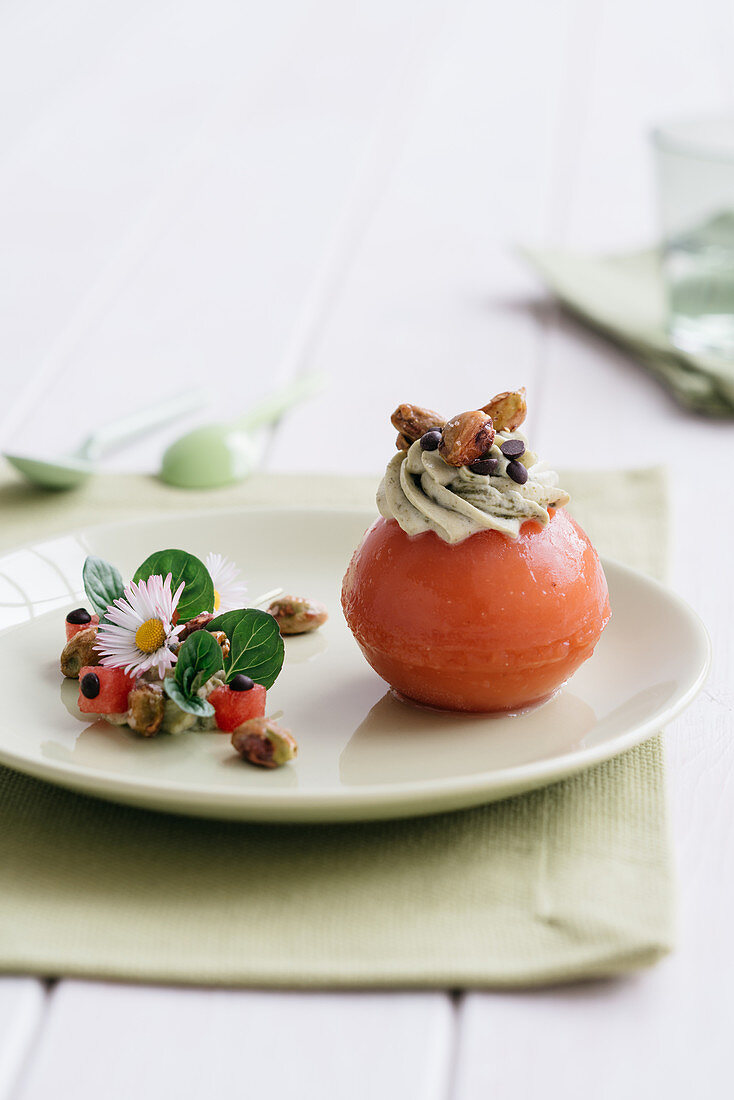 Watermelon jelly with pistachio cream and caramelised pistachio nuts
