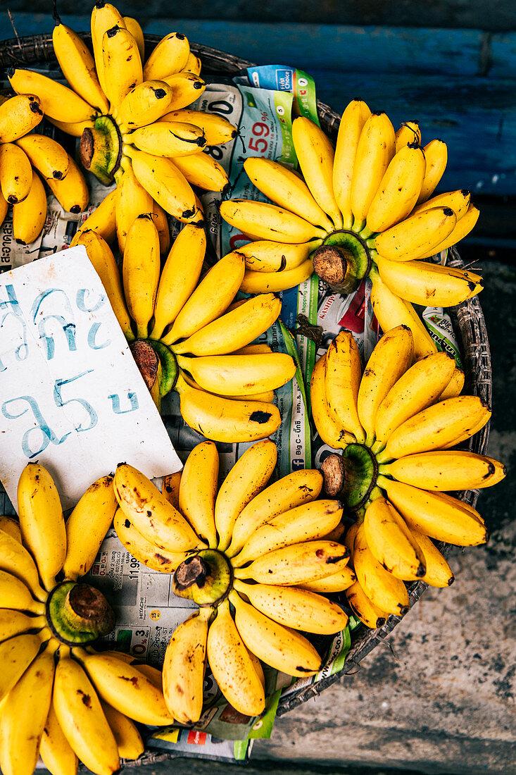 Bananas on market in Chantaburi in Thailand