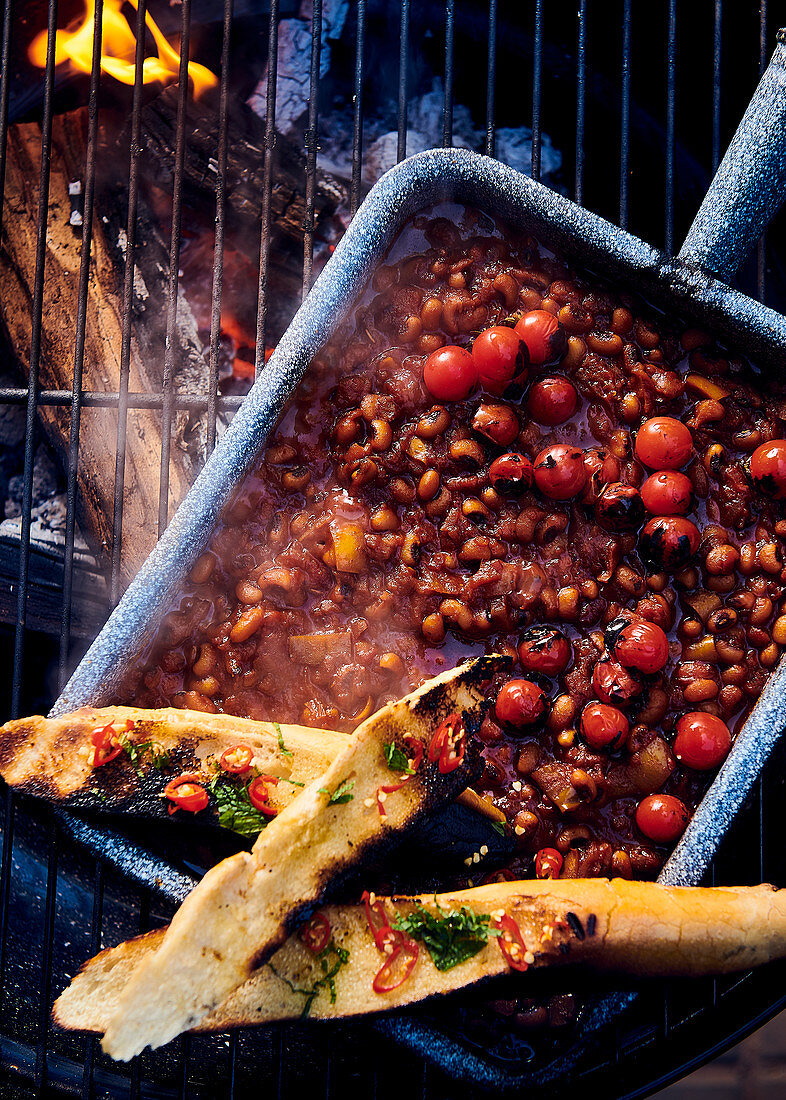 Smoky cowpea 'baked beans' with toasted baguette