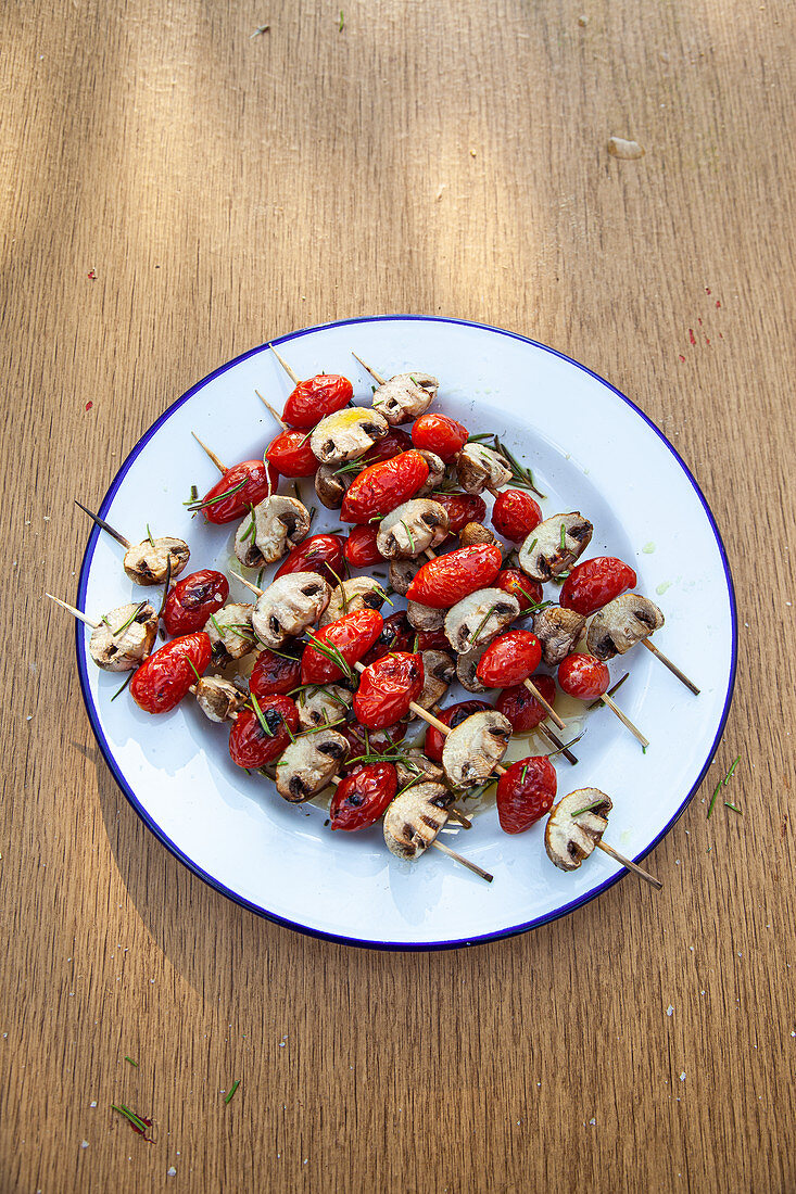 Grilled tomato and mushroom skewers